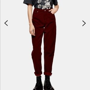 Burgundy Corduroy Mom Tapered Jeans